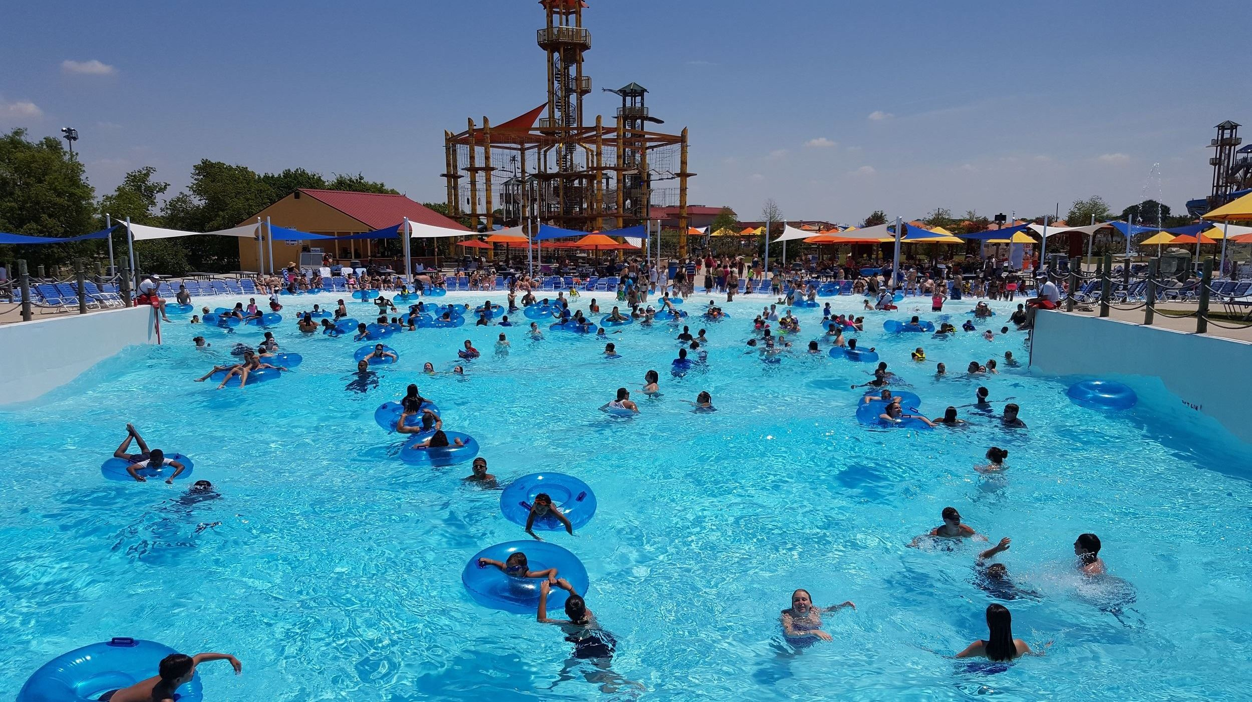 a wave pool at a waterpark