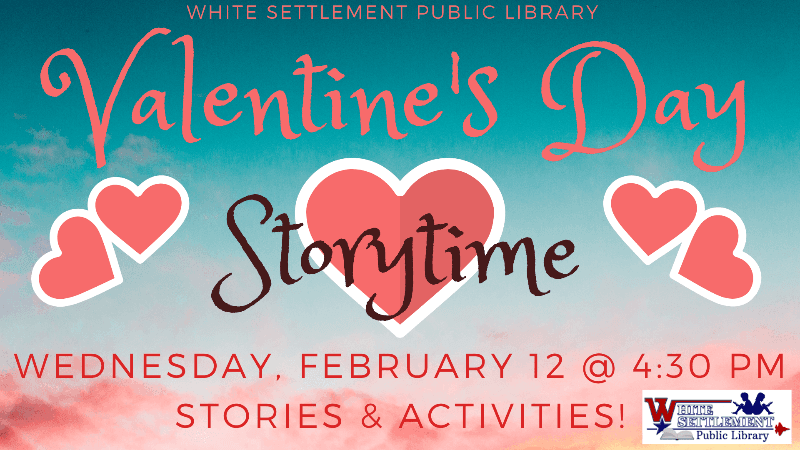 Valentine's Day Storytime, Feb 12 at 4:30 pm