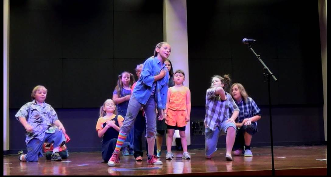 Children acting on stage